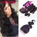 6A Brazilian Virgin Hair With Closure Brazilian Body Wave 4 bundles with closure human hair with closure no shedding no tangle