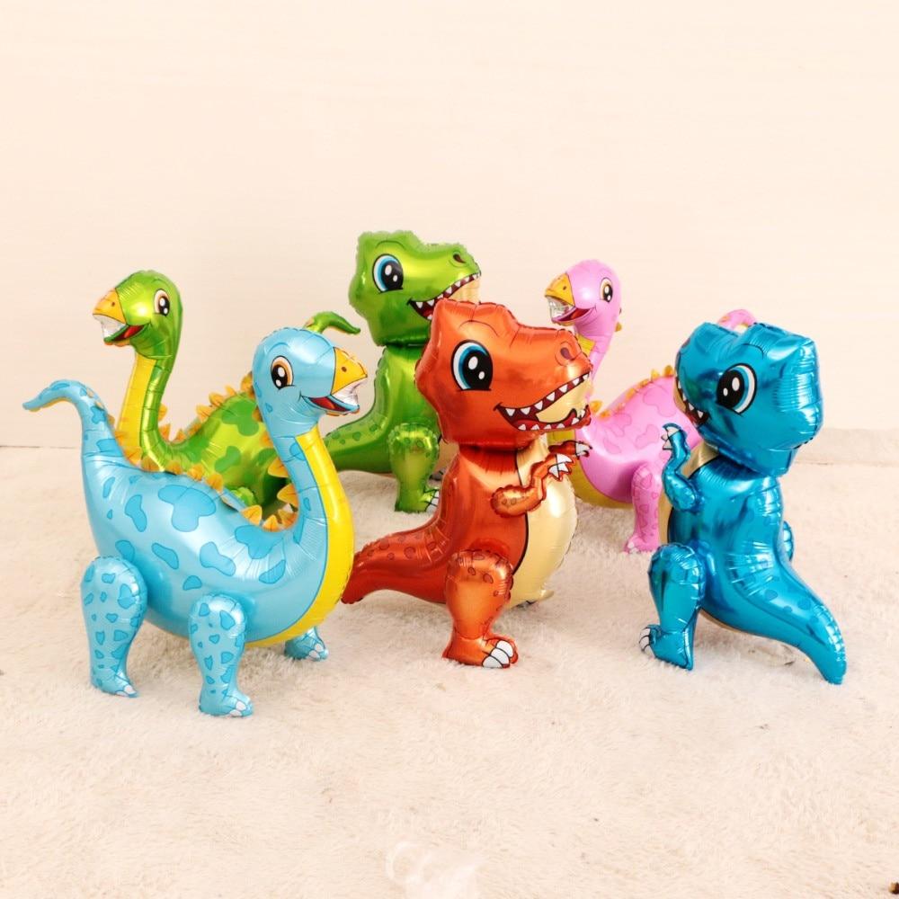 Cartoon Hat 4D Dinosaur Balloons Foil Standing Green Dinosaur Red Dragon Birthday Deco Party Supplies Boy Kids Toys Hat