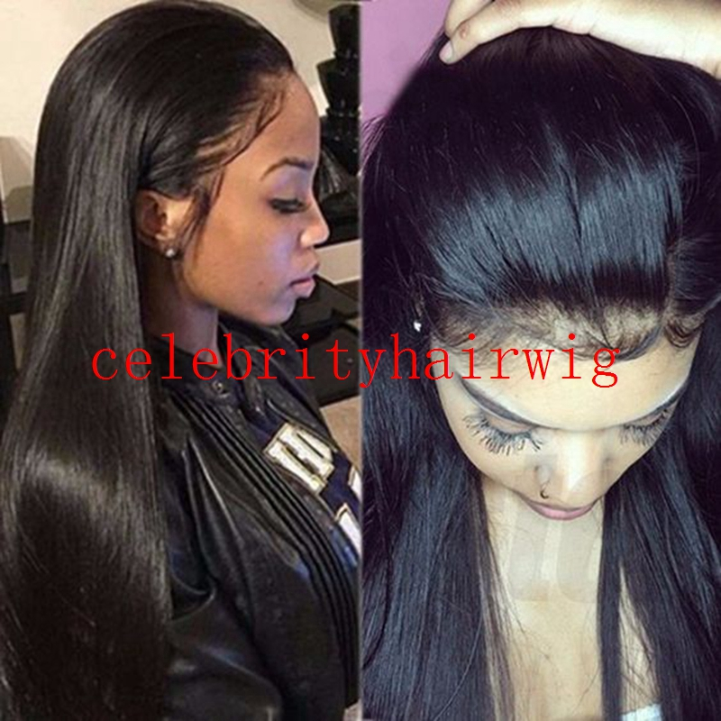 MRWIG baby hair synthetic glueless front lace wig free part black/blonde/brown 12-26inch real hair 150% can permed