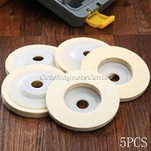 "5 pçs 4 ""Polegada 100mm lãs polimento roda polir almofadas ângulo moedor roda feltro polimento disco para metal mármore vidro cerâmica"