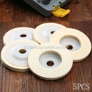 Image 1 - Disques de polissage en laine, 4 pouces, 100mm, 5 pièces, tampons de polissage pour meuleuse dangle, disque de polissage en feutre pour métal, marbre, verre, céramique