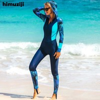 Print Floral One Piece Swimsuit Long Sleeve Swimwear Women Bathing Suit Retro Swimsuit Vintage UV Protection Hooded Rash Guard
