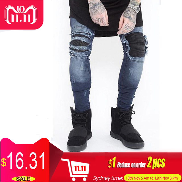 b9a2b6ad1061d Skinny Jeans Men Ripped White Black Slim Stretch Hole Distressed Mens Biker  Jeans Medium Wash Streetwear Hip Hop Pants Jogger