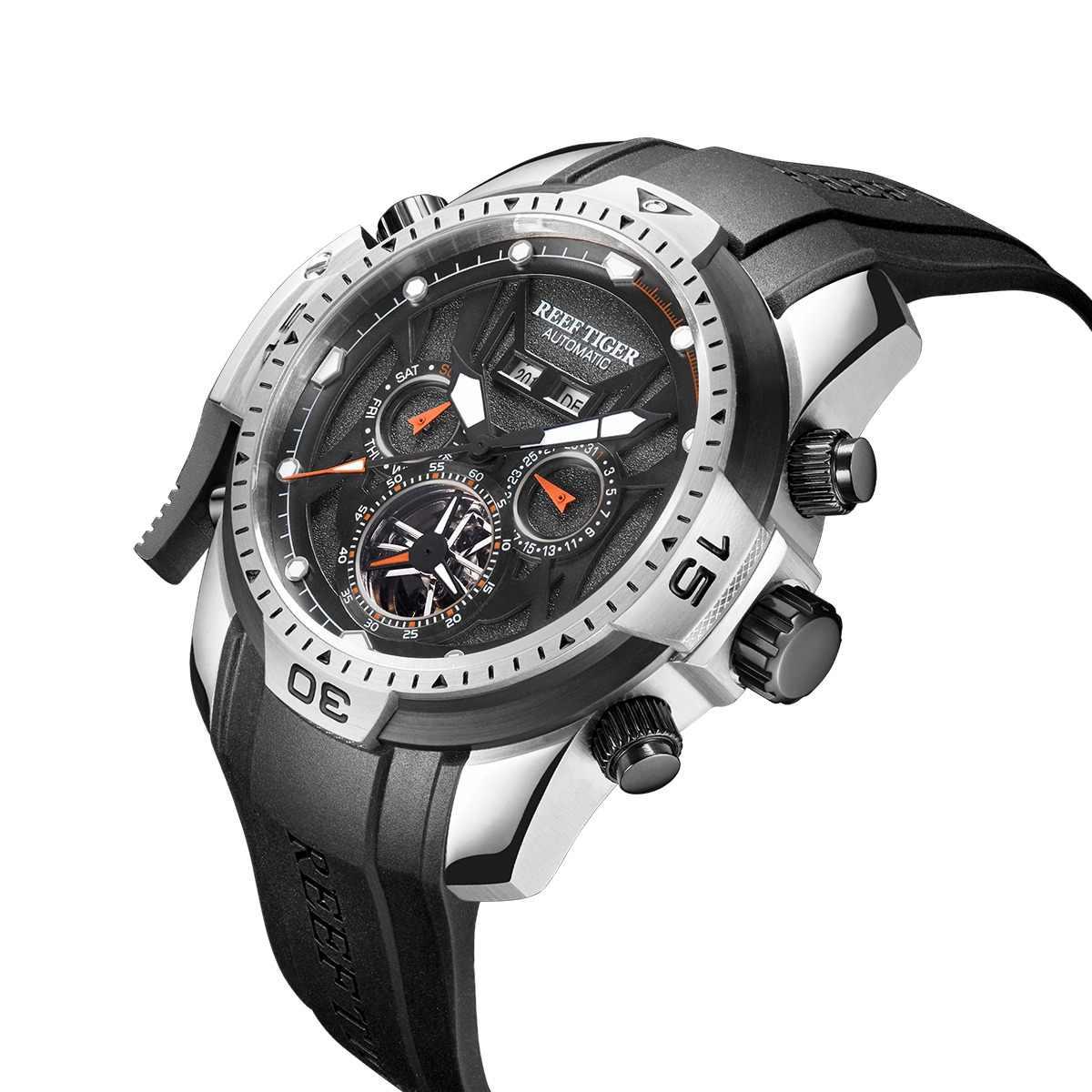 dff83beba43 Arrecife de Tigre RT deporte reloj complicado Dial con año mes calendario  perpetuo gran caja