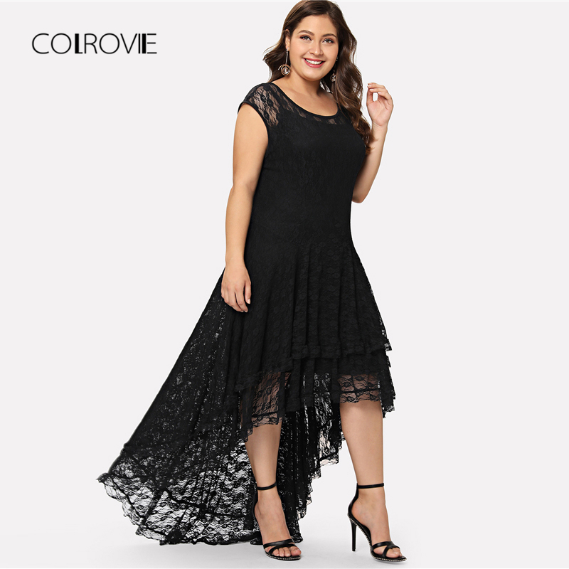 d44a10a2813 COLROVIE Plus Size Black Backless Dip Hem Layered Floral Lace Dress Ruffle  Summer Dress 2018 Stretchy Asymmetrical Women Dress -in Dresses from  Women s ...