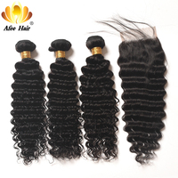 Aliafee Hair Deep Wave Human Hair Bundles With Closure Brazilian Hair Weave 3 Bundles Deal Remy