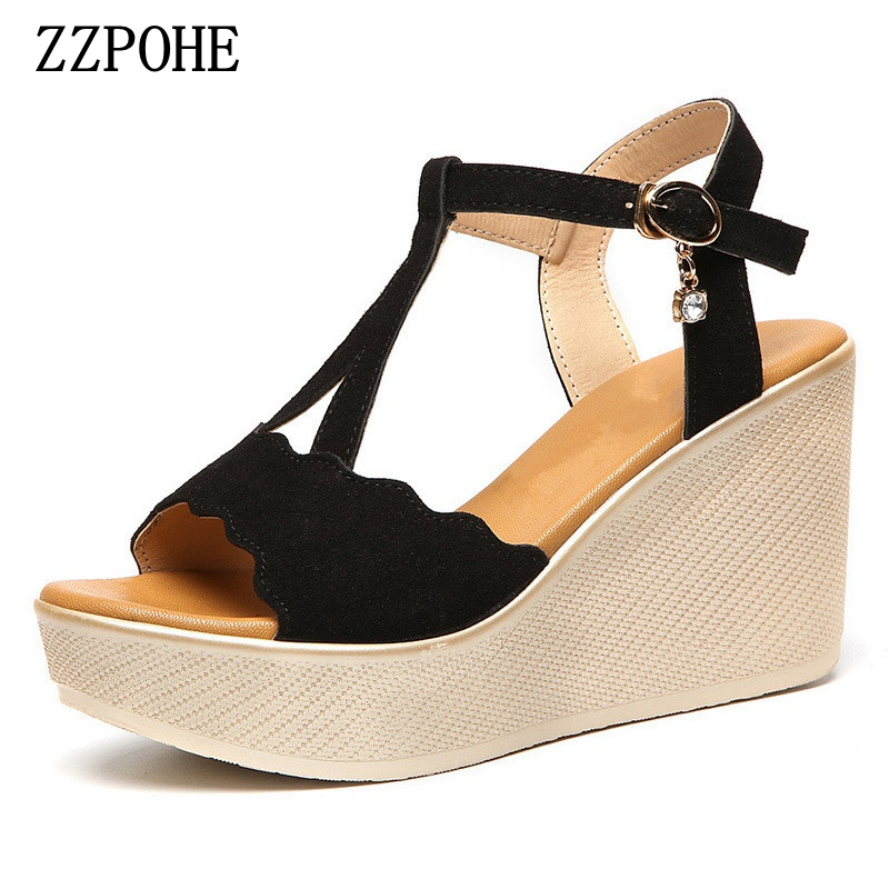 Summer new women fashion sandals sweet slope with comfortable wild sandals Bohemian diamond clip toe woman shoes size 34-43 poadisfoo 2017 new ethnic women s shoes bohemian diamond slope with a large summer sandals zapatos mujer jxf 6662b