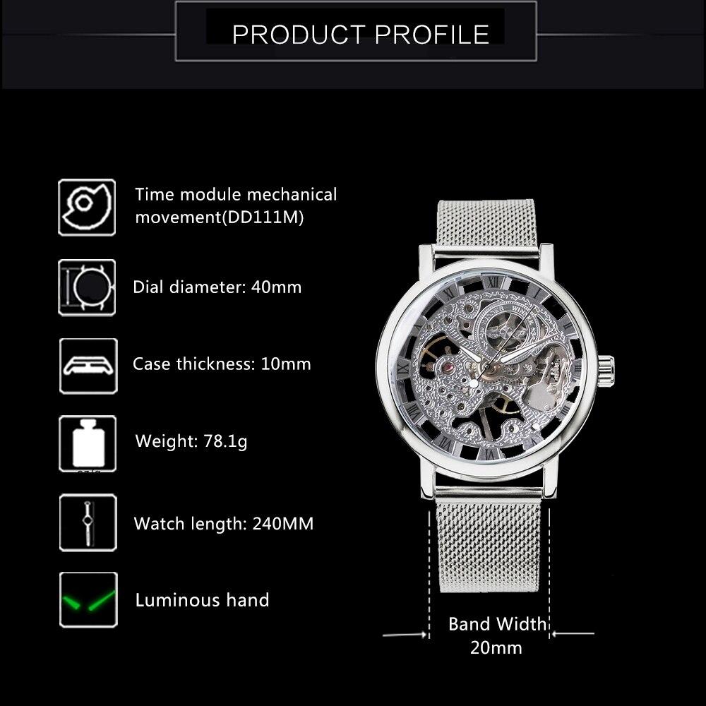 Image 2 - WINNER Official Fashion Women Watches Ultra Thin Mesh Strap Top Brand Luxury Skeleton Mechanical Elegant Ladies Wristwatch GirlsWomens Watches   -