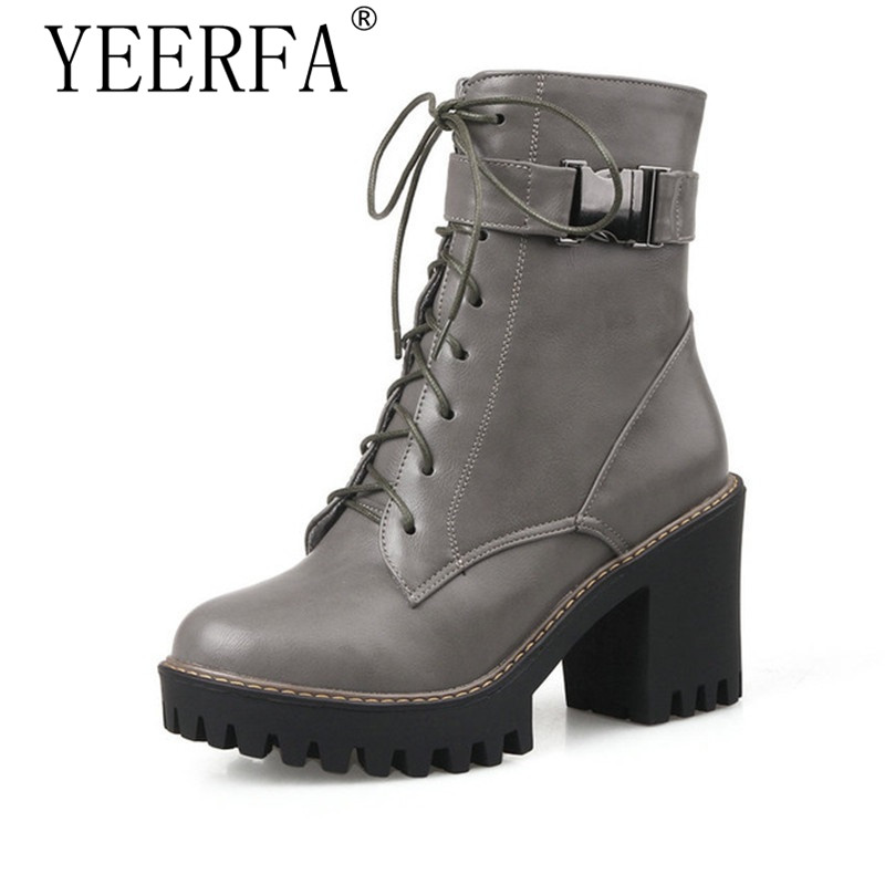 YEERFA 2017 Fashion Women Boots Square High-Heel PU Zipper Ankle Boots Round Toe Platform Ladies Motorcycle Boots Size 35-43 vinlle women boot square low heel pu leather rivets zipper solid ankle boots western style round lady motorcycle boot size 34 43