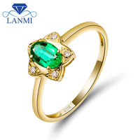 Solid 18K Yellow Gold Columbian Emerald Ring 750 Gold Diamond Wedding Fine Jewelry For Sale