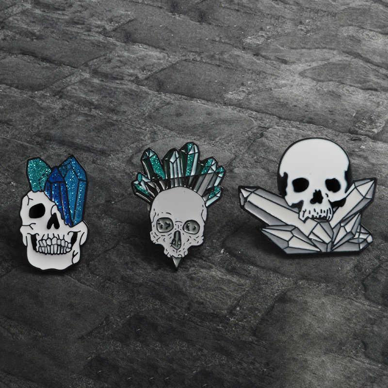 Pesta Halloween Hadiah Punk Putih Skeleton Tengkorak dengan Mineral Bros Pin Kemeja Kerah Aksesoris Pecinta Unisex Wanita Pria Perhiasan
