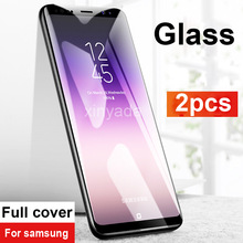 2pcs Tempered Glass For Samsung Galaxy A7 A9 2018 A6 A8 Plus J4 J6 J8 Screen protector Guard Lcd Protection Film Full Cover
