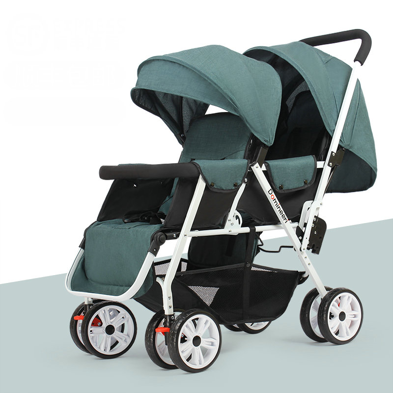 Can Sit Can Lie Twins Stroller with Removable Canopy, 1S can Fold Baby Stroller, Portable Tandem Stroller with Mosquito Net baird288 baby stroller wheel shock absorbing baby carrier with mosquito net cotton pad