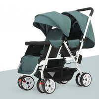 Can Sit Can Lie Twins Stroller with Removable Canopy, 1S can Fold Baby Stroller, Portable Tandem Stroller with Mosquito Net