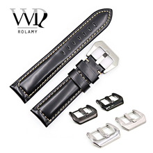 Rolamy 22 24 26mm Black Smooth Real Leather Handmade Thick Replacement Wrist Watch Band Strap Belt With Pre-V Screw Buckle