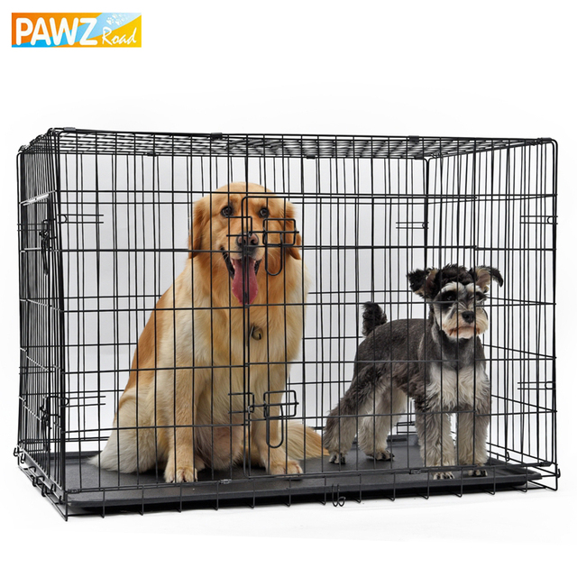 PAWZRoad Domestic Delivery Pet Dog Cage Crate Double Door Pet Kennel  Collapsible Easy Install Fit
