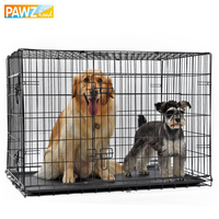 PAWZRoad Domestic Delivery Pet Dog Cage Crate Double Door Pet Kennel Collapsible Easy Install Fit Your Pets 5 Sizes Pet House