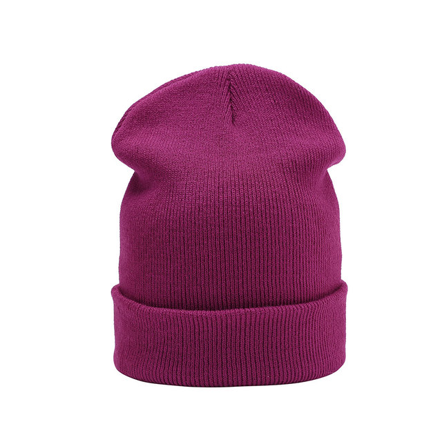 ef138925e19 Knitted Skullies beanies women winter beanie hat female warm cap cotton Casual  wool solid Beanie Hat For Men Unisex Bonnet