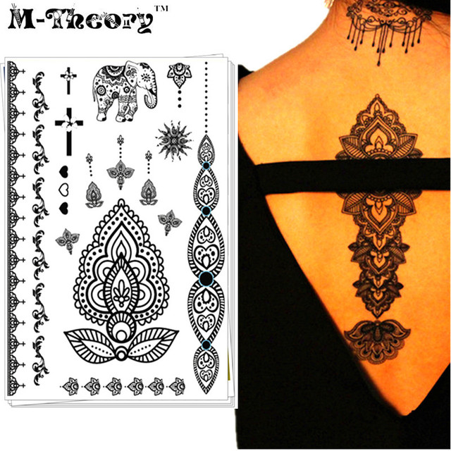M-Theory Wedding Bride Choker Makeup Temporary 3d Tattoos Body Arts Black Lace Tatto Flash Tatoos Sticker Swimsuit Makeup Tools