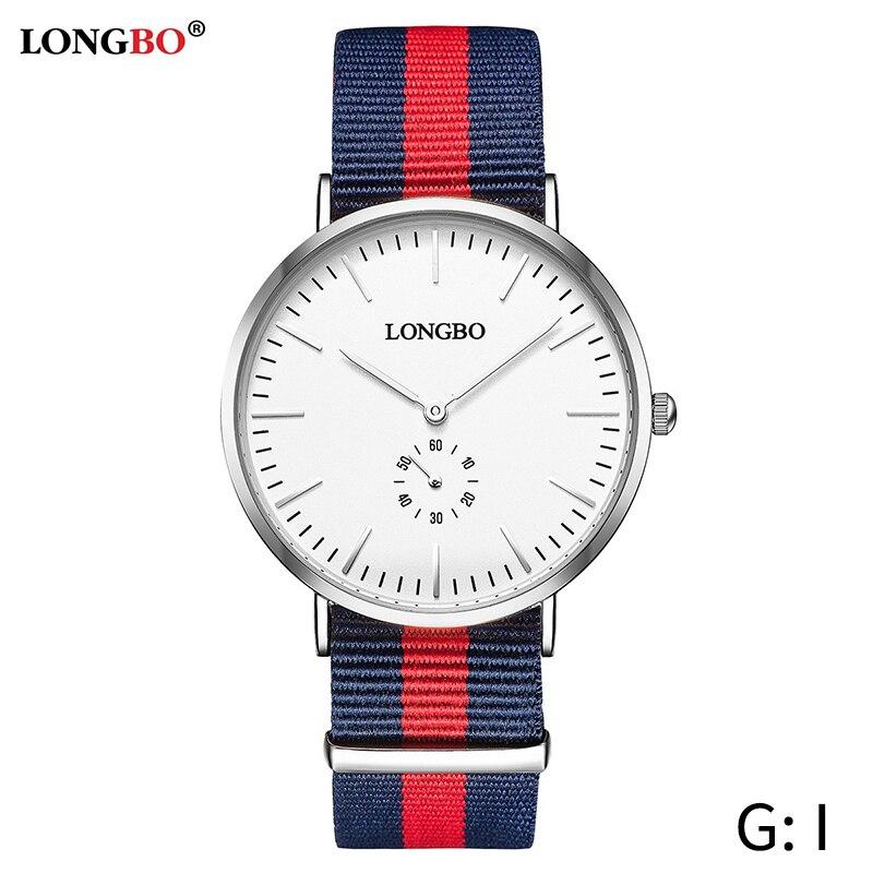 цена на LONGBO 2018 Nylon Watchband Quartz Watch Men Top Brand Luxury Famous Casual Wrist Watch Male Clock Hodinky Boy Relogio Masculino