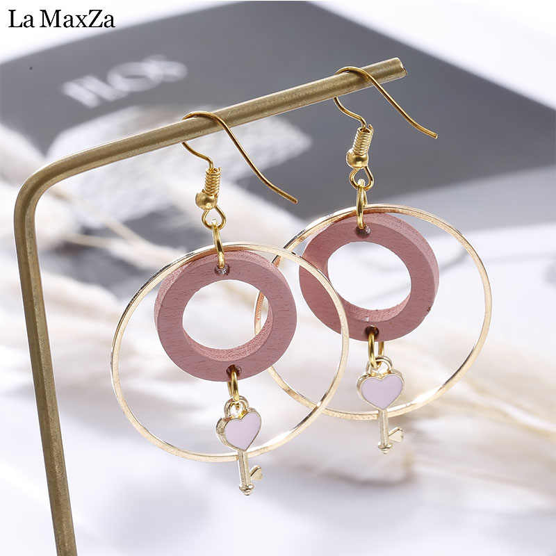 Wooden Earrings For Women Trendy Statement Exaggerated Pink Circles Gold-Color Long Drop Earrings Girls Korean Fashion Jewelry