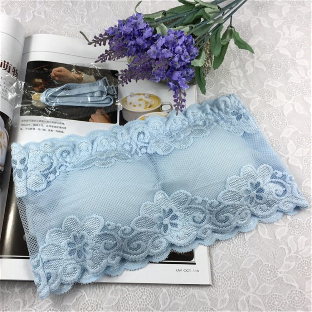 Solid One Size Lace Floral Full Cup Strapless Bras Women Wire Free ...