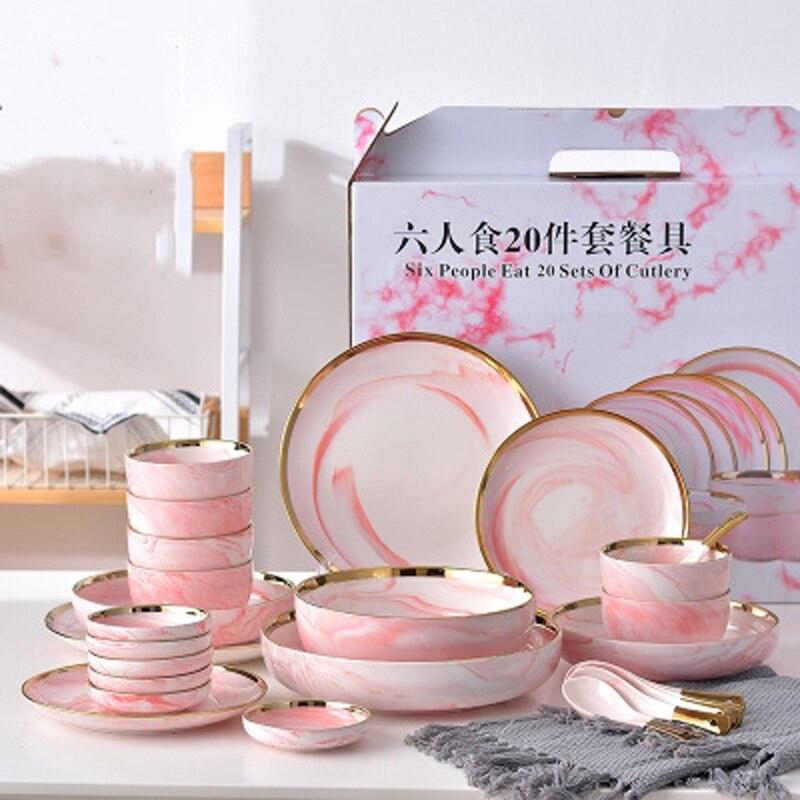 Vaisselle de table en céramique marbre rose | Ensemble de 6 personnes, assiette à dîner riz salade nouilles bol assiettes à soupe, service de table, vaisselle outil de cuisine