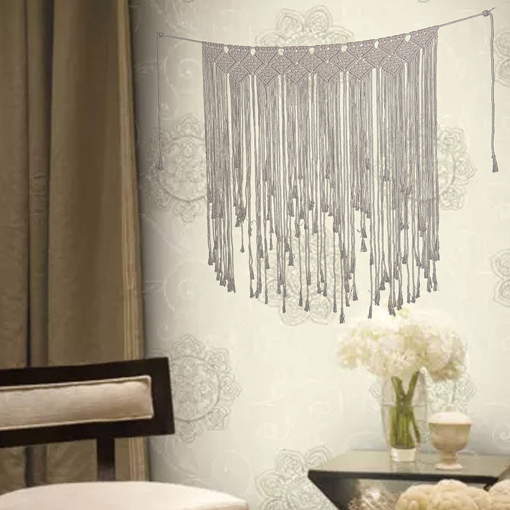2×Macrame Wedding Backdrop Macrame Wall Hanging Curtain Tapestry Home Party Deco