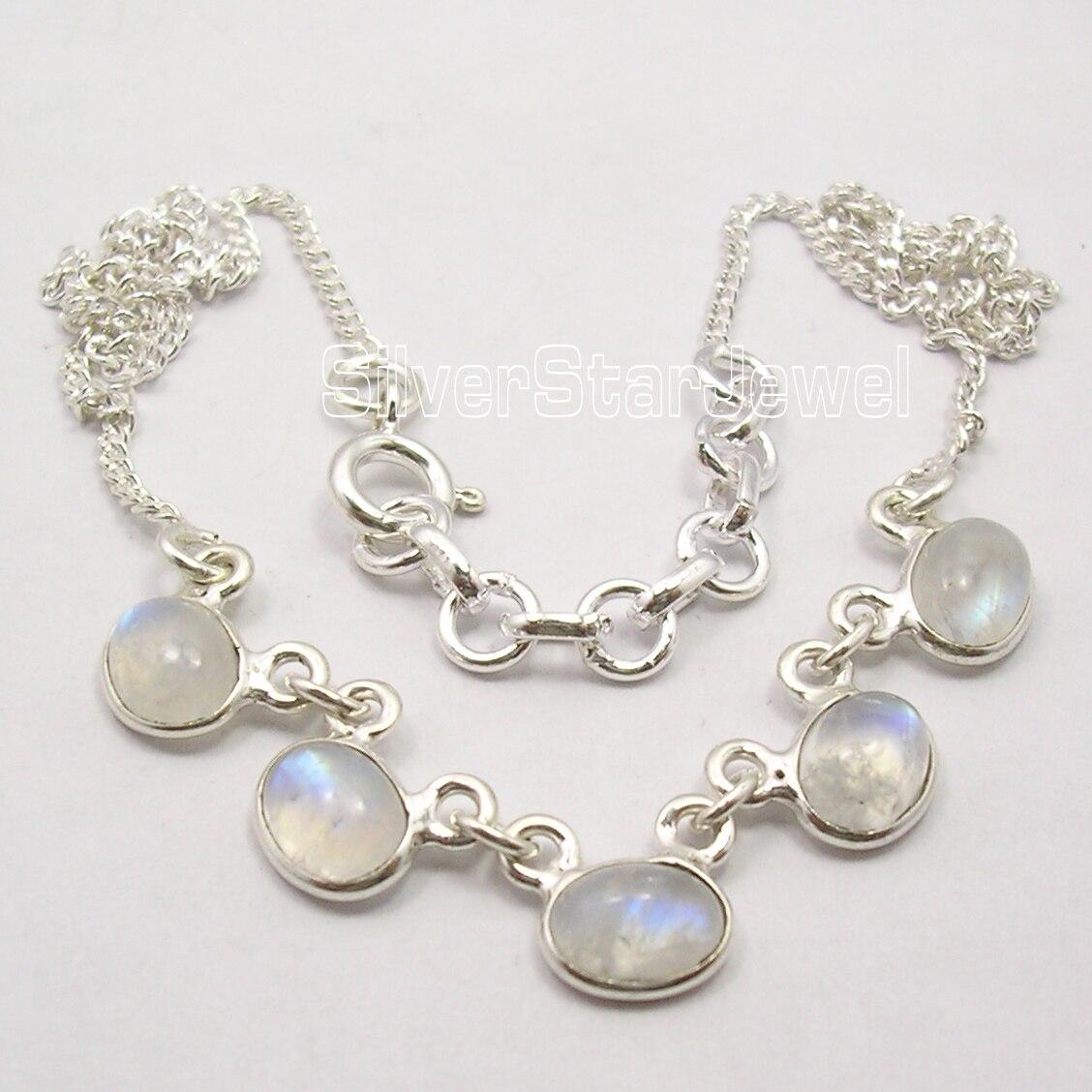 Chanti International SOLID Silver Original RAINBOW MOONSTONE Art LADIES Necklace 16 3/4 Inches