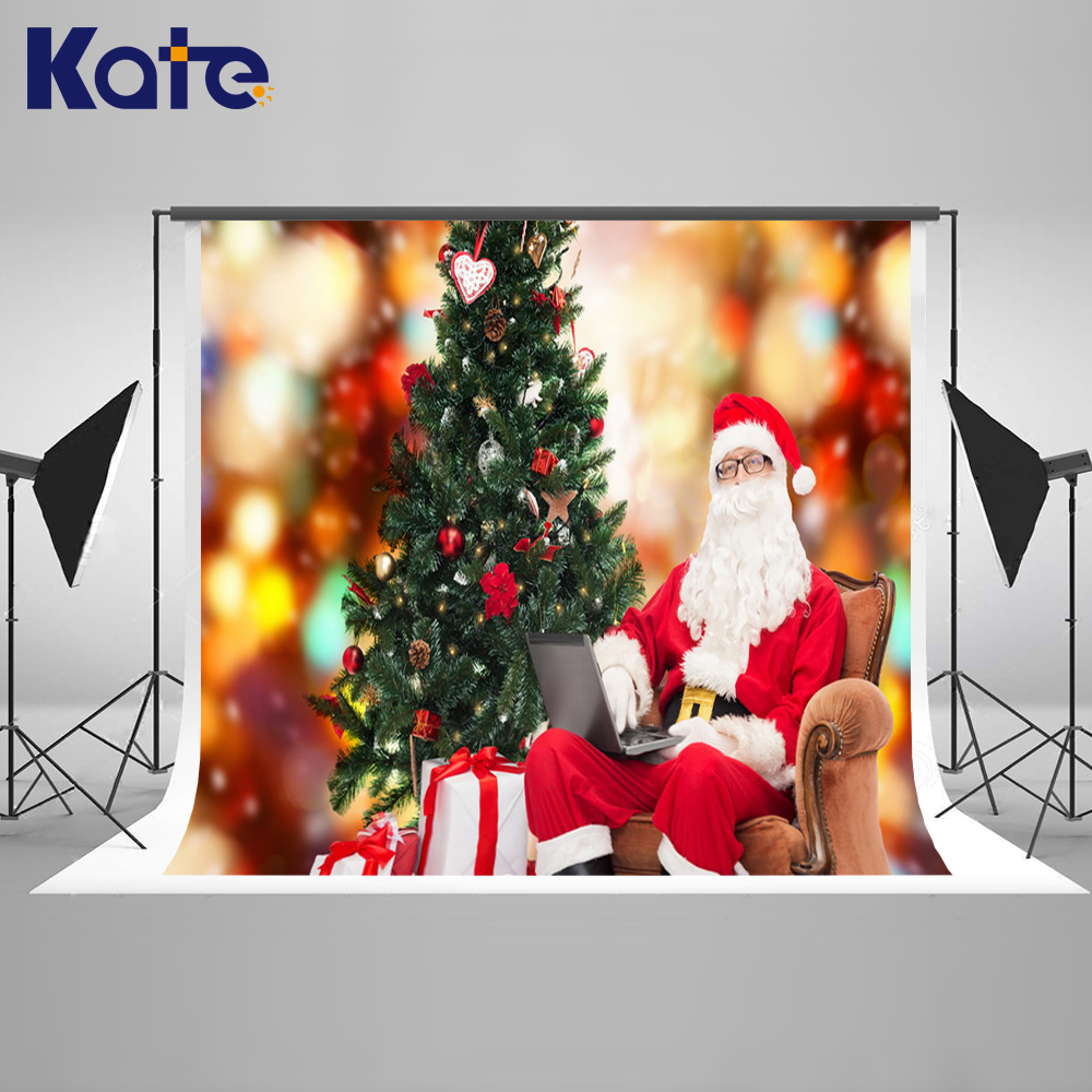 Photography Backdrops Gold Light Christmas Tree Background For Photo Studio Santa Claus Children Photo Ba