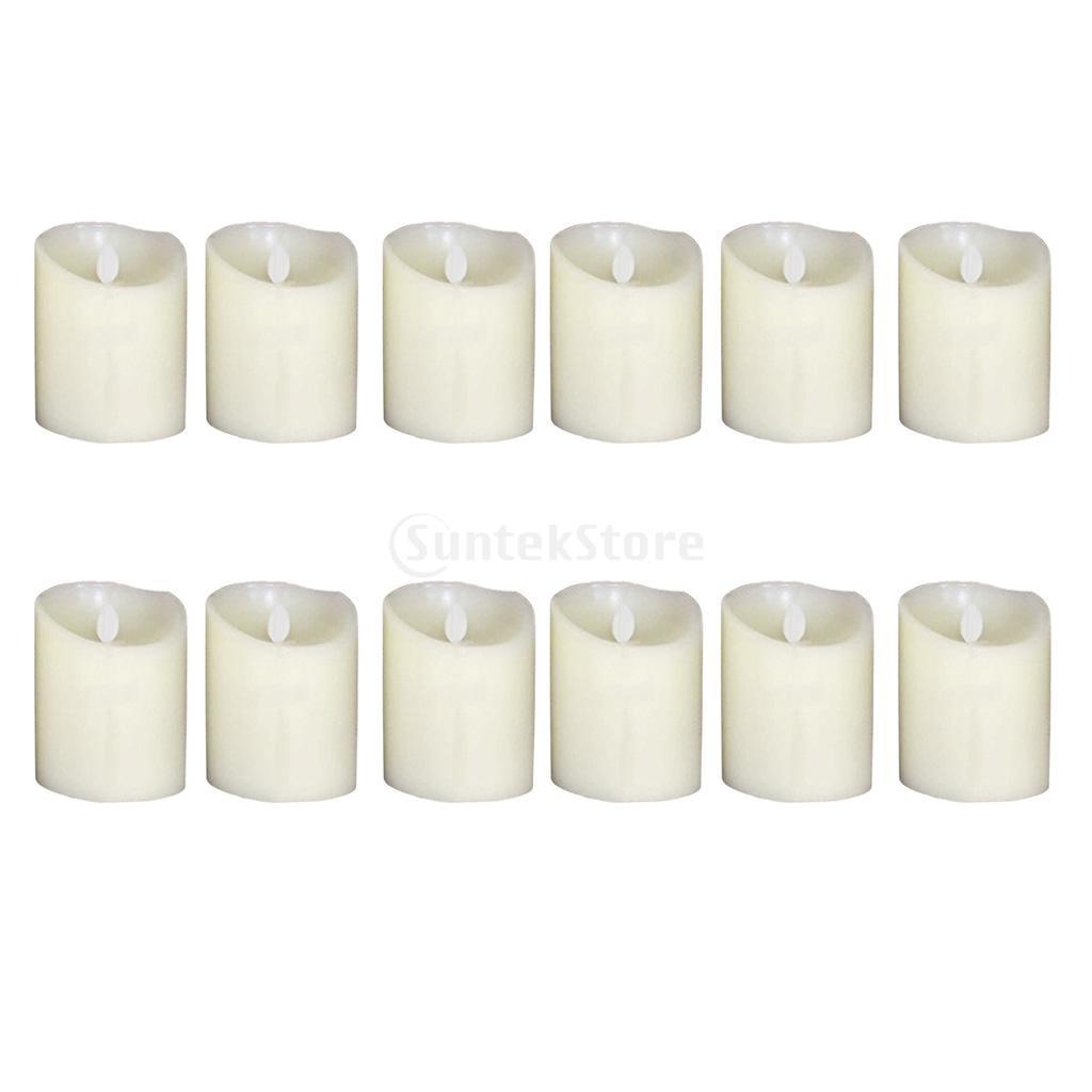 12Pcs Romantic LED Flameless Swing Flickering Simulation Candle Light 10cm
