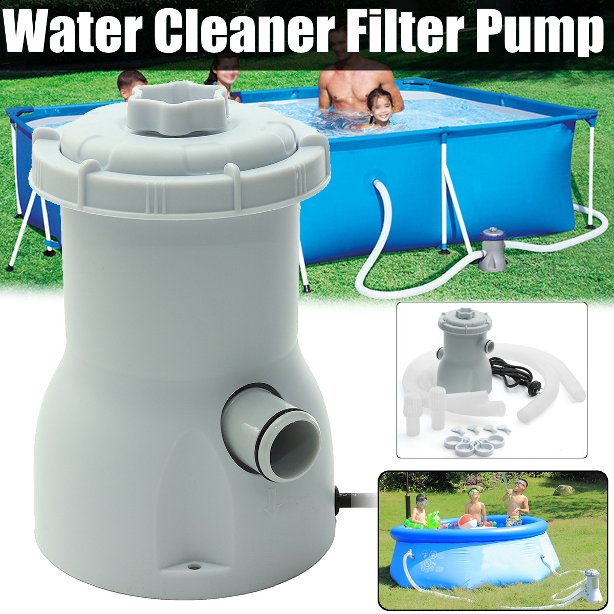 220V Electric Filter Pump Swimming Pool Filter Pump Water Clean Clear Dirty Pool Pond Pumps Filter/swimming Pool Water Cleaner 58427 bestwat aqua powercell vac cleaner for spas and ag p totally submersible body vacuum debris on pool spa floor clean water