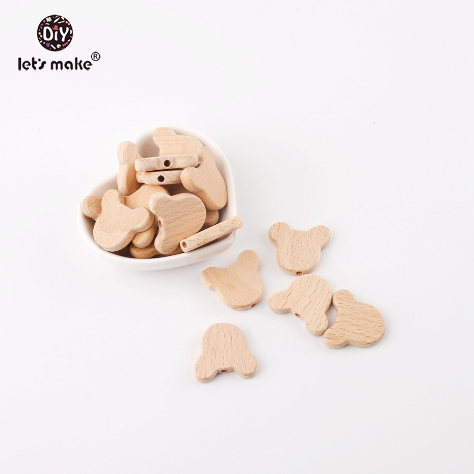 Let's Make 10pcs Natural Wood Bears Beads Jewelry Making For Teeth Beech Wooden Teether DIY Dummy Clip Chains Baby Teethers
