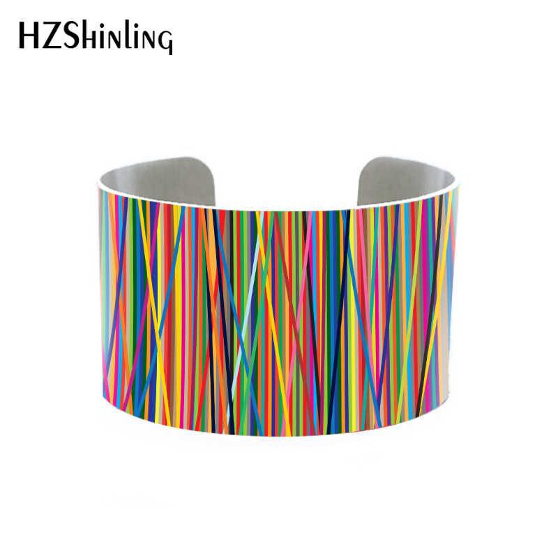 2018 טרנדי גיאומטרי תכשיטי רב צבעוני קאף צמיד עם פסיפס עיצוב עכשווי צמיד האמנותית מתכת צמידים