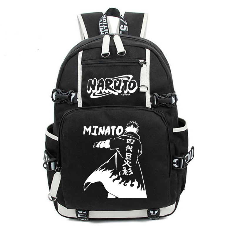 Naruto Backpack Anime Cartoon Hatake Kakashi Uzumaki Naruto Uchiha Sasuke Printed Cosplay Shoulder Backpack Large School Bag