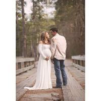2016 Fashion Maternity Pregnancy Photo Shoot Long Dress White Purple Big Size Maxi Long Sleeved Chiffon