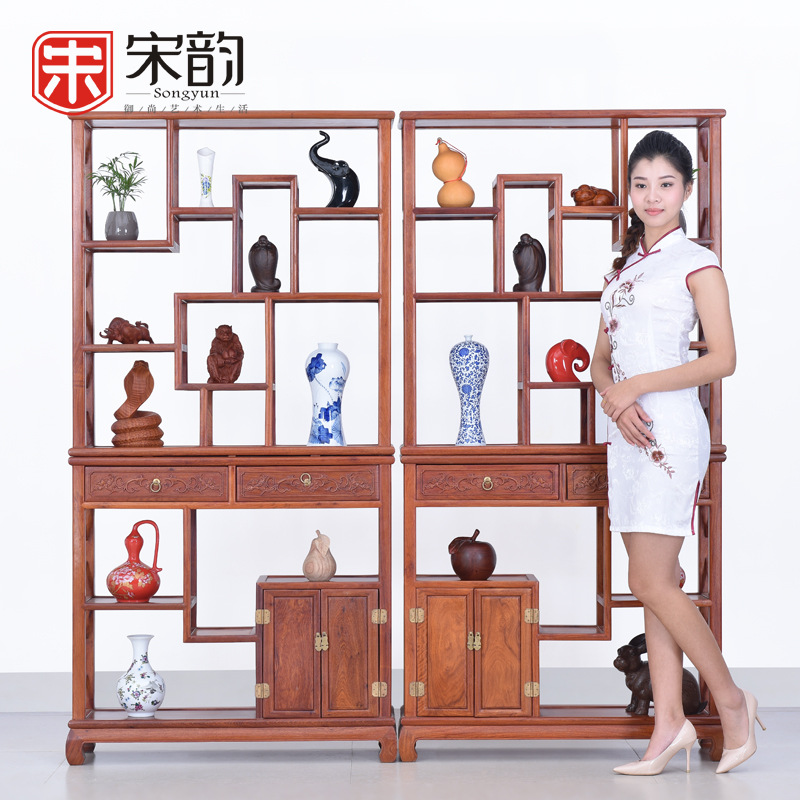 Song Yun Burma Rosewood Mahogany Furniture Living Room Shelf Chinese Curio Cabinet Display Antique Wood Frame Partition