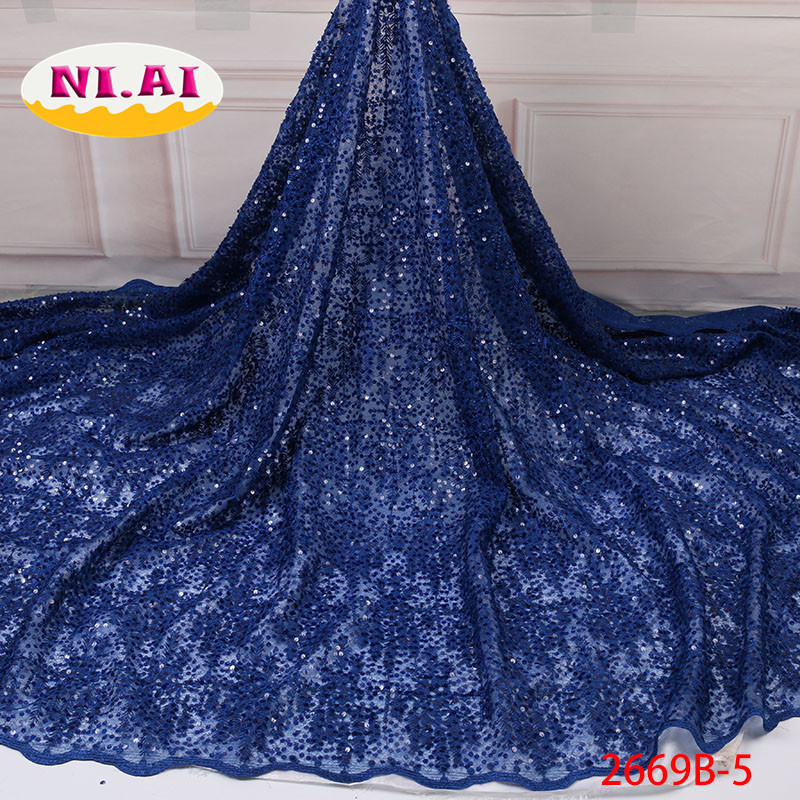 African Wedding Lace Sequin Lace Dress Fabric Royal Blue French Lace Mr2669b