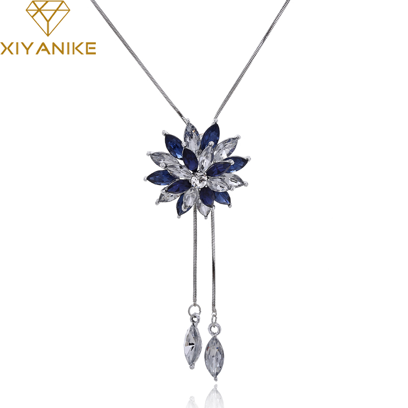 Xiyanike Fashion Elegant Sweater Chain Long Crystal Snow Pendant Water Drop Accessories Long Decoration Necklace Jewelry N151 To Have Both The Quality Of Tenacity And Hardness