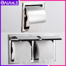 Double Toilet Paper Holder Stainless Steel Cover Bathroom WC Roll Paper Tissue Box Creative Wall Mounted Paper Towel Holder Rack free shipping wall toilet paper holder chrome stainless steel roll paper tissue rack with cover