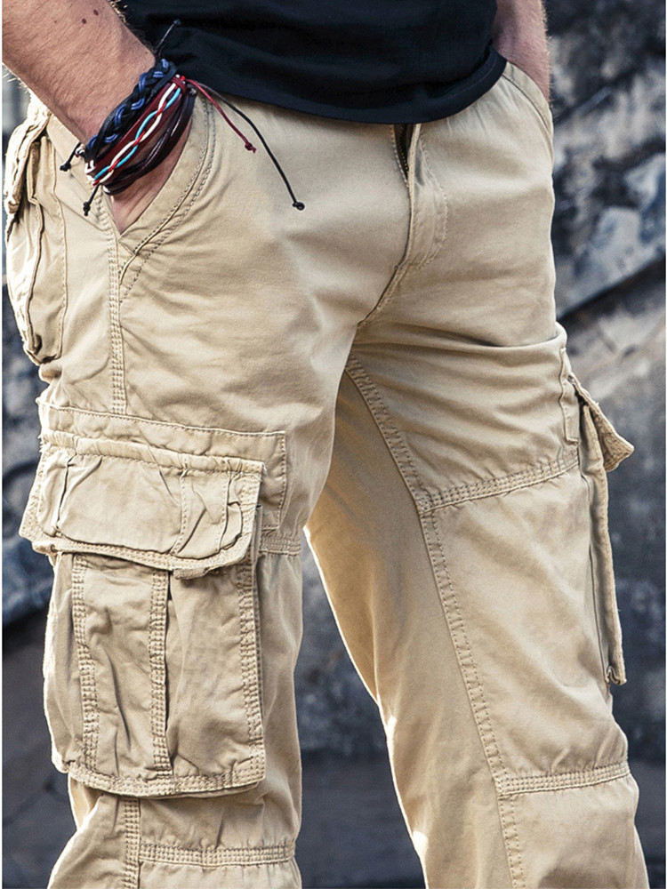 Men's Cargo Pants Mens Casual Multi Pockets Military Large Size 40 Tactical Pants Men Outwear Army Straight Slacks Long Trousers
