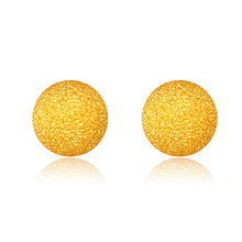 RINYIN Fine Jewelry Pure 18K Yellow Gold Earring Authentic 18 Carat Frosted Beads Stud Earrings