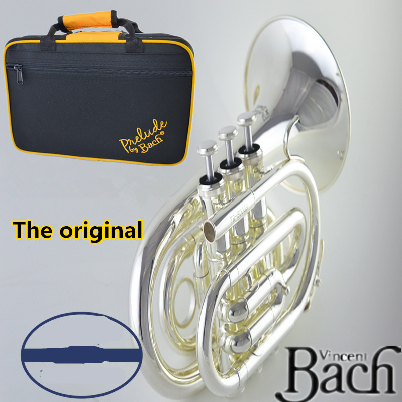 American original Bach Palm number /pocket trumpet musical instrument Professional trumpet music instrument Fall B silver plated trumpet bb bach trumpet for sale lt180s to 37 instrument b surface silver plating exquisite design durable wholesale 2016 new