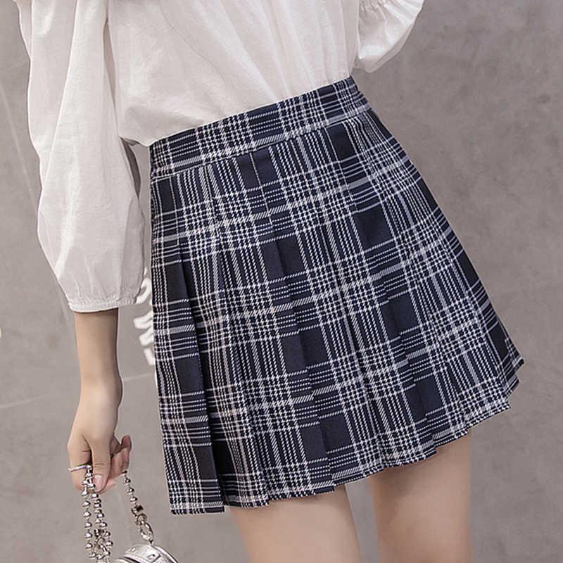 b89ebf6c73 ... Harajuku Kawaii High Waist Pink Plaid A Word Skirt Women Kpop Ulzzang  Mini Skirts Pleated Schoolgirl
