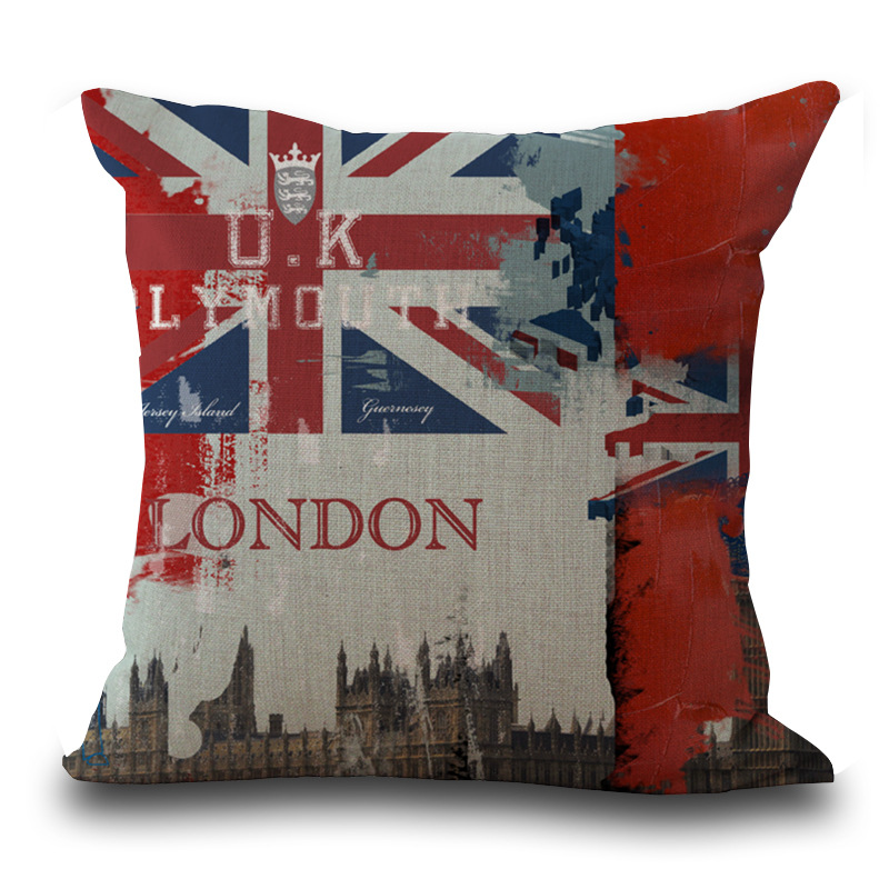 Scandinavian Cheap Cushion Covers with Invisible Zipper London Home Decor Bull Terrier Almofadas De Luxo Cock Cushion Case PC346