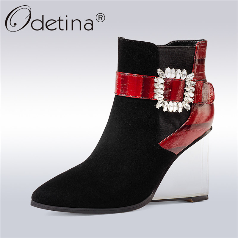 Odetina 2017 New Fashion Genuine Leather Transparent High Heel Boots Buckle Crystal Ladies Wedge Ankle Boots Pointed Toe Shoes nayiduyun women genuine leather wedge high heel pumps platform creepers round toe slip on casual shoes boots wedge sneakers