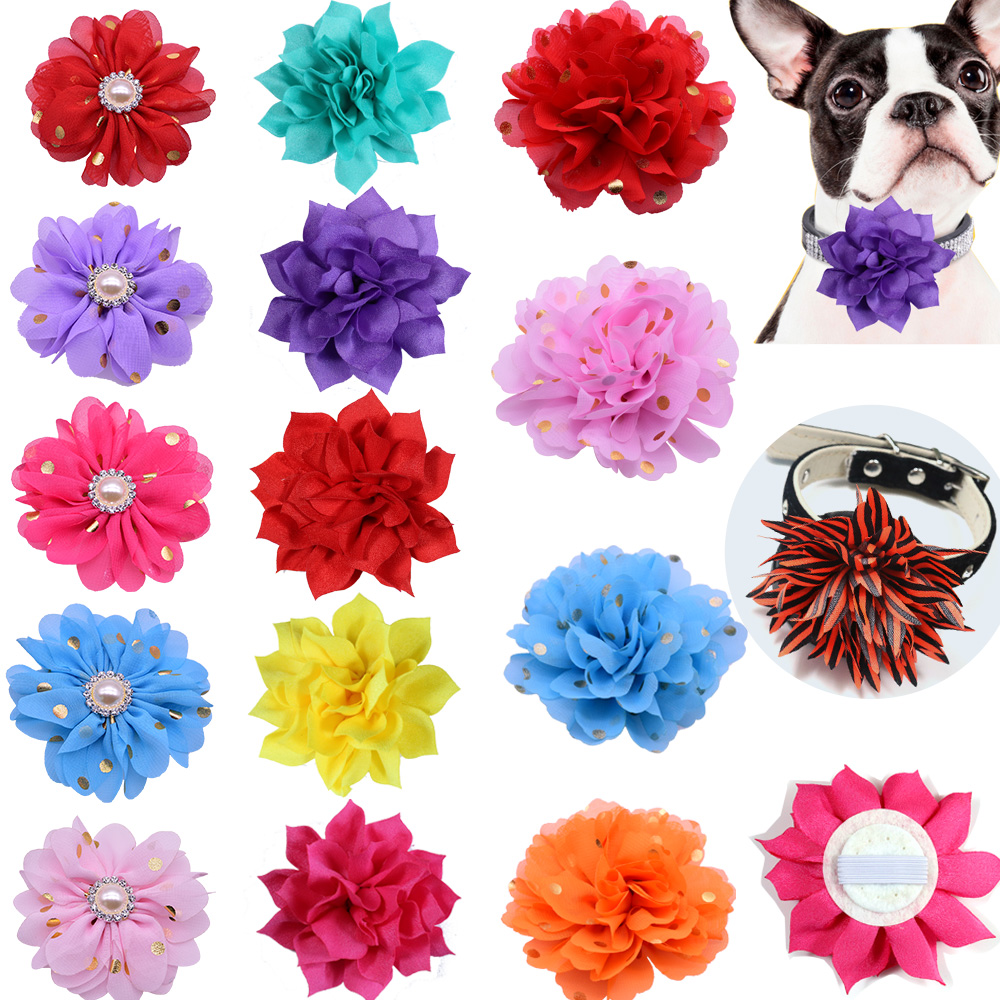 100pcs Flower-Collar Christmas Pet Products Slidable Dog Pet Collar Decorationr Supplies Dog Bow Tie Dog Gromming Accessoriesrie