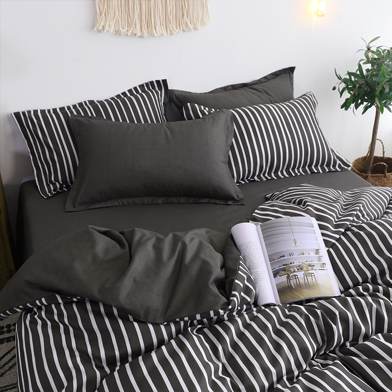 BEST.WENSD luxury bedspread king bedding luxury bed sheets and pillowcases black gray zipper quilt cover bed set ropa de cama