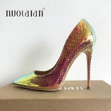 2019 Brand Women Pumps Snake Printing Shoes Woman Pointed Toe High Heels Shoes Luxury Designer Wedding Bridal Party Sexy Shoes(China)
