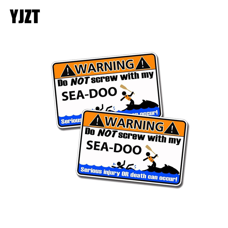 YJZT 2X 11CM*6.7CM Warning DO NOT SCREW WITHE MY SEA DOO Funny Car Sticker PVC Decal 12-0344 ...